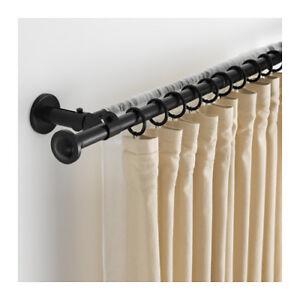 Dettagli Su Ikea Storslagen Set Bastone Per Tenda Doppio Nero 120 210 Cm