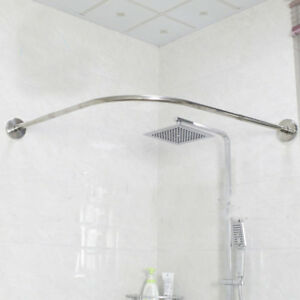 details about u corner shower curtain pole 17 24inch rail rod pole bath door drape rod bar