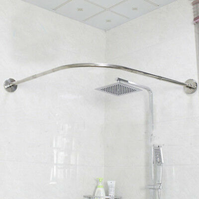 u corner shower curtain pole 17 24inch rail rod pole bath door drape rod bar ebay