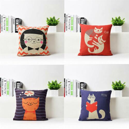 cartoon big face cat cotton linen throw pillow case cushion cover home decor 18 home decor home garden