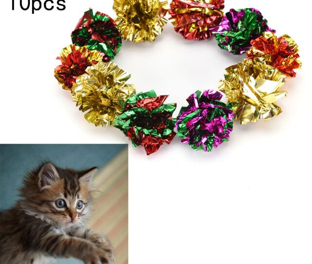 Lot Mylar Balls Crinkle Cat Toys Kitten Toy Ball Free Shipping To