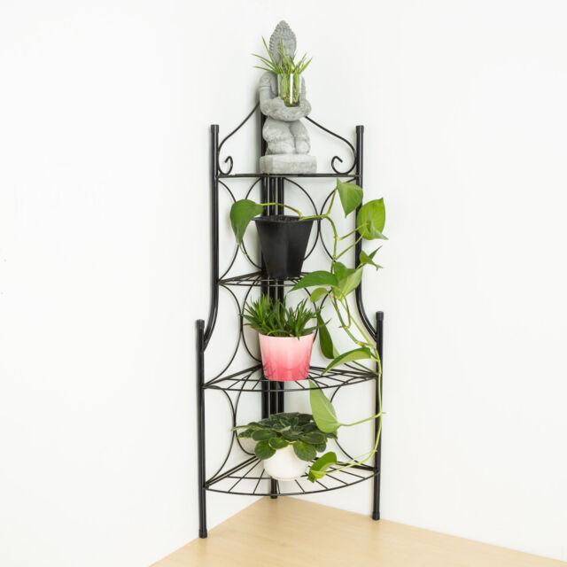 tectake etagere de jardin pour plantes escalier en fer 4 niveaux env 30x30x1
