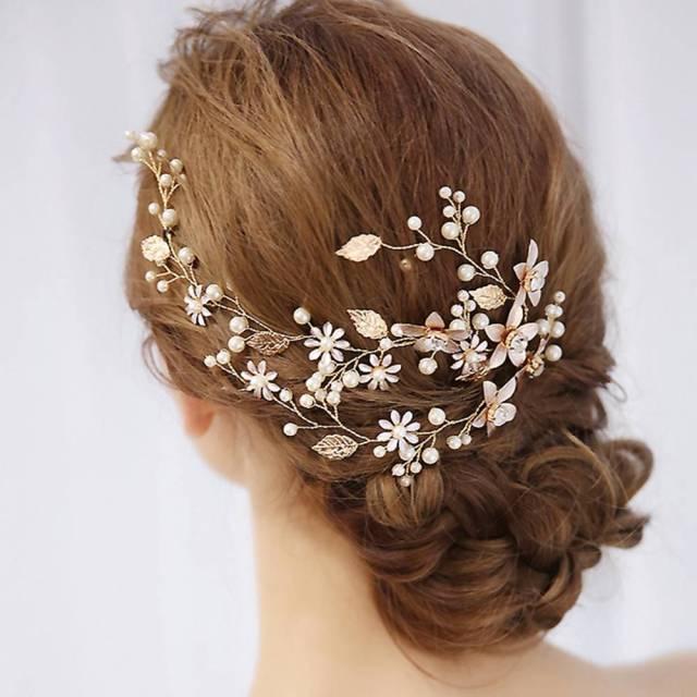 wedding leaf headband pearl flowers handmade hairband bridal hair accessories