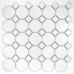 details about octagon 2 retro porcelain white matte floor and wall mosaic tile 11 5x11 5