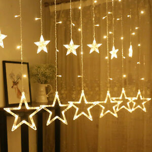details about 12 twinkle star led string fairy light curtain christmas window showcase wall uk