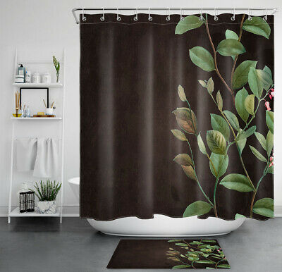 watercolor green leaves brown background waterproof polyester shower curtain set