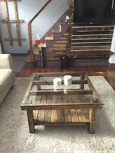 details about rustic coffee table 36 x36 x19 with tempered glass