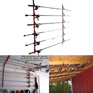 details about fishing rod rack garage ceiling wall mount pole reel holder organizer storage