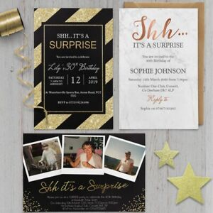 18th 21st 30th 40th 50th 60th 70th Birthday Invitations Pack Of 10 Personalised Invites Surprise Black And Silver Glitter Effect Art Craft Supplies Arts Crafts Clinicadelpieaitanalopez Com