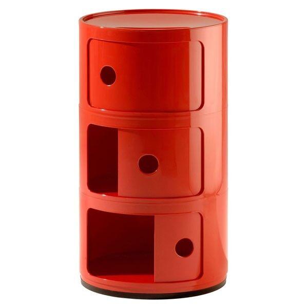 meuble de rangement componibili 3 portes rouge original kartell