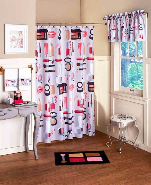 hollywood glamour makeup shower curtain hooks chic lipstick rug towels full set