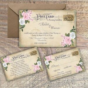 Details About Personalised Vintage Postcard Pink Grey Fl Wedding Invitations Packs Of 10