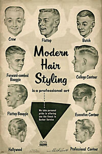 Vintage Ad Modern Hair Styling Chart Barbershop Haircut