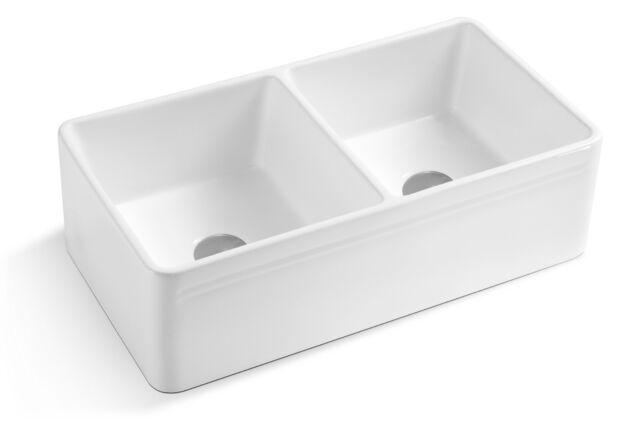 33 white fireclay farmhouse reversible double bowl kitchen sink drain grids