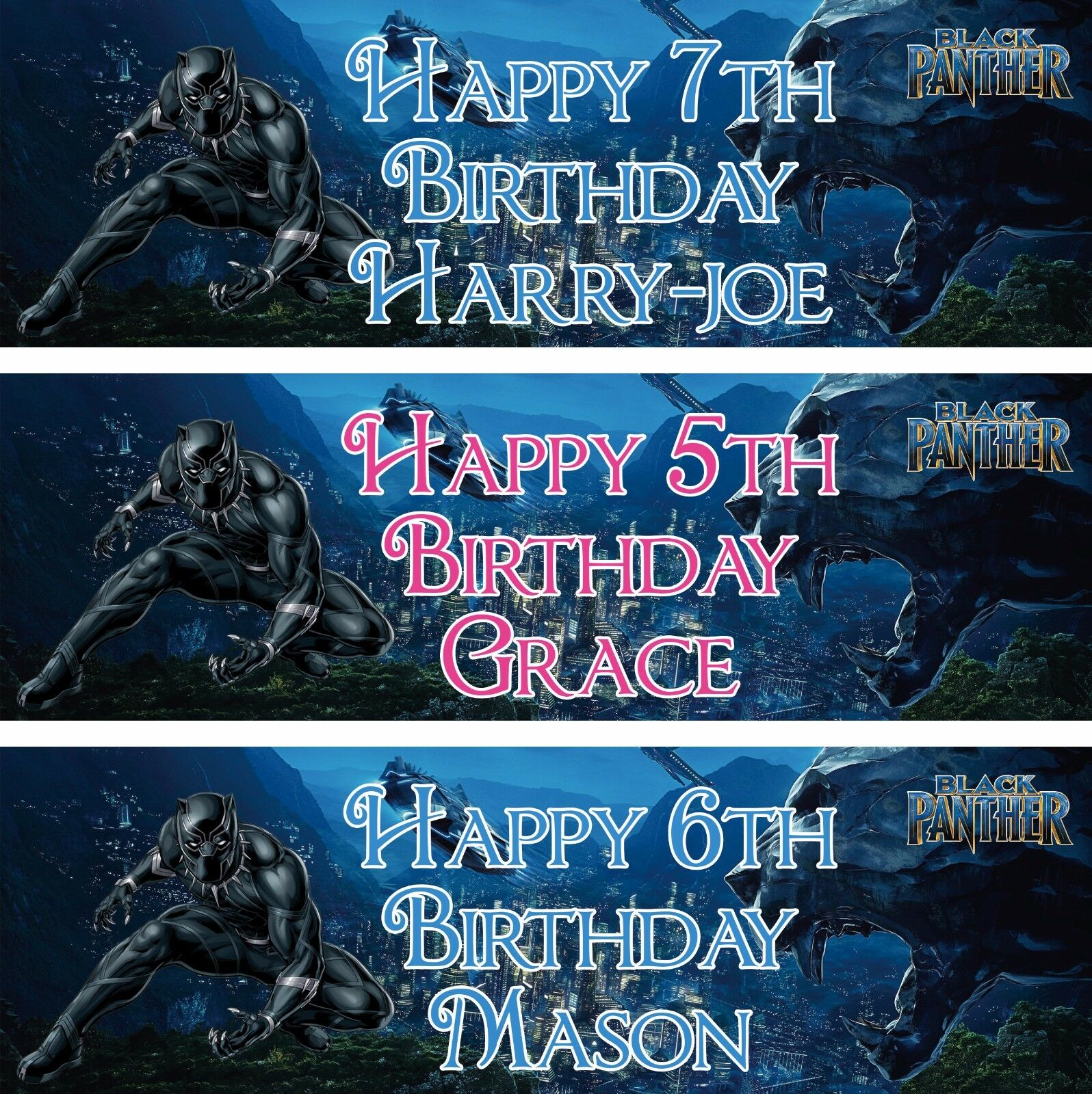 Party Banners Bunting Garlands 2 X Black Panther Personalised Birthday Banners Greeting Cards Party Supplies