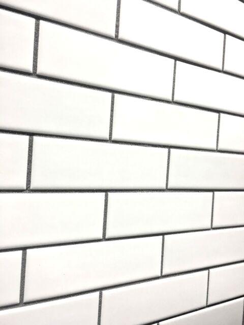 white 2x6 brick matte ceramic mosaic