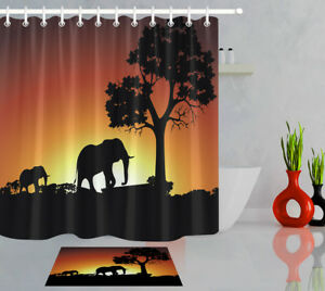 details about african sunset elephant shower curtain liner bathroom set polyester fabric hooks