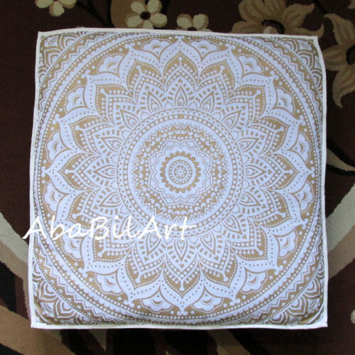 lot of 35x35 square cushion cover cotton white gold floor pillow covers 5 pc home decor home decor pillows