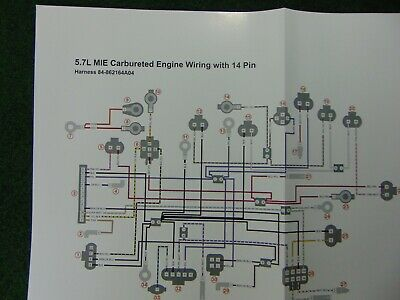 mercruiser 57 mie carbureted engine wiring with 14 pin wiring harness  diagram  ebay