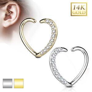Echt Gold 585 14 Karat Herz Schmuck Ohr Piercing Ring Cartilage Helix Daith Hoop