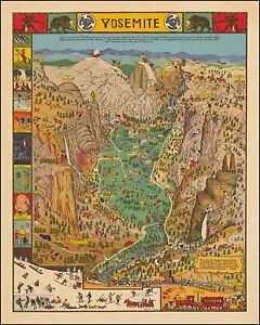 Yosemite National Park Humorous 1931 pictorial map POSTER Jo Mora     Image is loading Yosemite National Park Humorous 1931 pictorial map POSTER