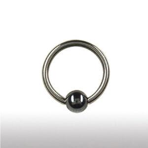 1,2mm Piercing Klemm Ring Hämatit Kugel Ohr Lippe Intim Septum Piercing