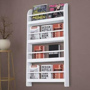 Wall Mounted Bookshelf White Magazine Rack Holder Bookcase 4 Tiers Shelving Unit Ebay