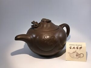 Yixing Teapot with Dragon Spout Decoration Made With Brown Clay