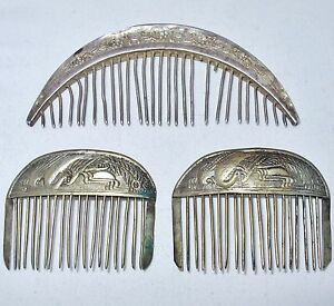 3 antique chinese silver hair bs with flowers 4 3 peacock birds 2 35 ebay