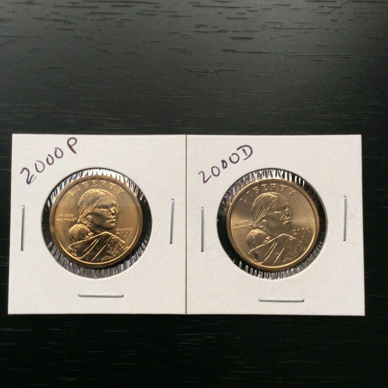 2000 Sac Sacagawea Dollars P&D from US Mint Rolls