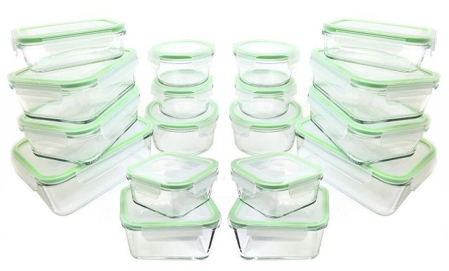 Kinetic GoGreen Glassworks 36-Piece Oven Safe Glass Food Storage Container Set 2