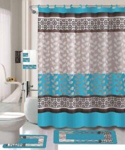 details about 18 pc bath rug set bathroom shower curtain contour mat ring towel rily turquoise