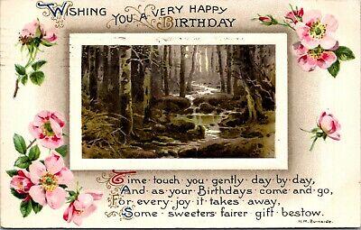 Wishing You A Very Happy Birthday Nature Scene Vintage Postcard Ebay