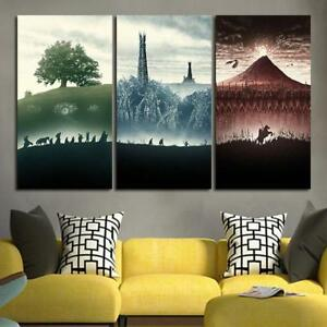 3 Panel Lord Of the Rings Trilogy Wall Art Canvas unframed