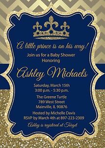 Details About Prince Baby Shower Invitation King Boy