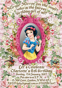 10 X Personalised Birthday Party Invitations Thank You Cards Snow White Ebay