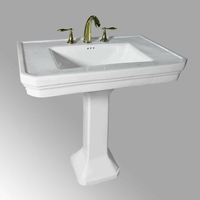 large white victorian pedestal sink grade a vitreous china 8in widespread