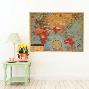 Vintage Map Of The World Wall Poster Decor Poster Antique World Map     Image is loading Vintage Map Of The World Wall Poster Decor