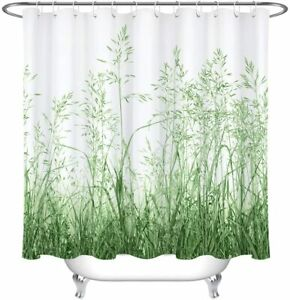 details about green white grass watercolor plants nature farmhouse fabric shower curtain