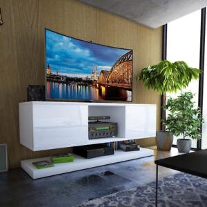details sur wizzardin meuble tv suspendu 140 cm blanc gris noir moderne led optionnel