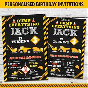 details about digital or printed construction dump trucks birthday party invitation invite boy