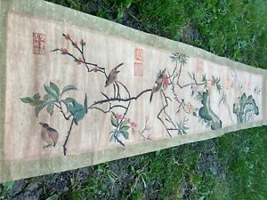 A Chinese Landscape Hanging Ink Scroll China Silk and Paper Birds landscape 20th