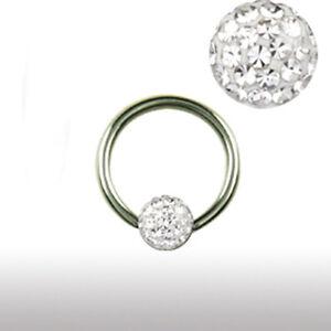 Titan 1,2mm Piercing Ring Epoxy Multistrass rundum Kristall Kugel Ohr Lippen
