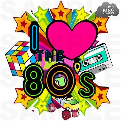 Download I Love The 80's Retro Iron On T-Shirt Transfer Rock Star ...