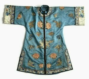 Fine Antique Qing Chinese Silk Forbidden Knot Stitch Embroidered Robe Moth Fish