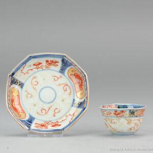 18C Japanese Porcelain Cup & Saucer Imari 'Flowers & Butterflies' Antique