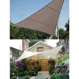 details sur perel voile d ombrage triangulaire carree 5 m auvent parasol creme taupe