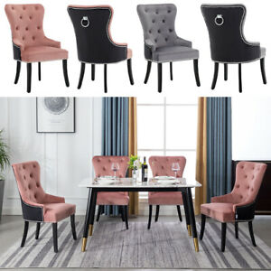 Kitchen Dining Chairs Set Of 1 2 4 Plush Velvet Upholstered Twin Colour Chair Uk Ebay