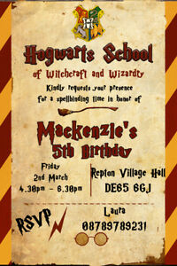 details about personalised harry potter hogwarts themed birthday party invites envelopes hp1