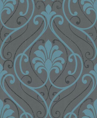 rouleaux de papier peint rasch paillettes baroque damasse parchemin papier peint noir turquoise scintillant coller paroi hotellarkad